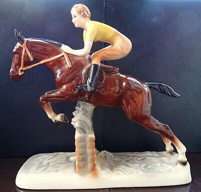 Katzhütte Hertwig & Co Die Reiterin Antike Seltene Keramik Figur Sammlerstück