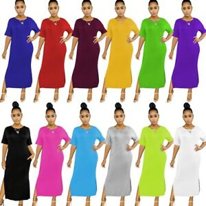 Women's Sexy Slim Maxi Dress Lady Bodycon Short Sleeve Stretch Ball Gown Dresses