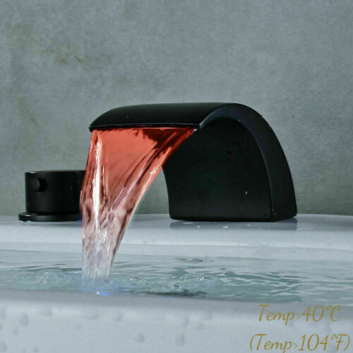 LED ORB Widespread Waterfall Bathroom Sink Faucet 3 Hole 2Handle Basin Mixer Tap