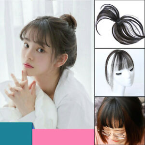 Women Clip in Hair Topper Top Hairpiece With Air Bang Fringe Hair ... bcdedad25e