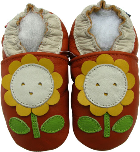 carozoo sunflower orange 3-4y soft sole leather toddler shoes