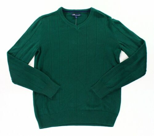JOHN ASHFORD Green V-Neck Ribbed Trim Long Sleeve Pullover Sweater **NEW