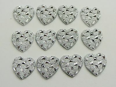 200 Silver Flatback Resin Glitter Stardust Heart Rhinestone Cabochons 11X11mm