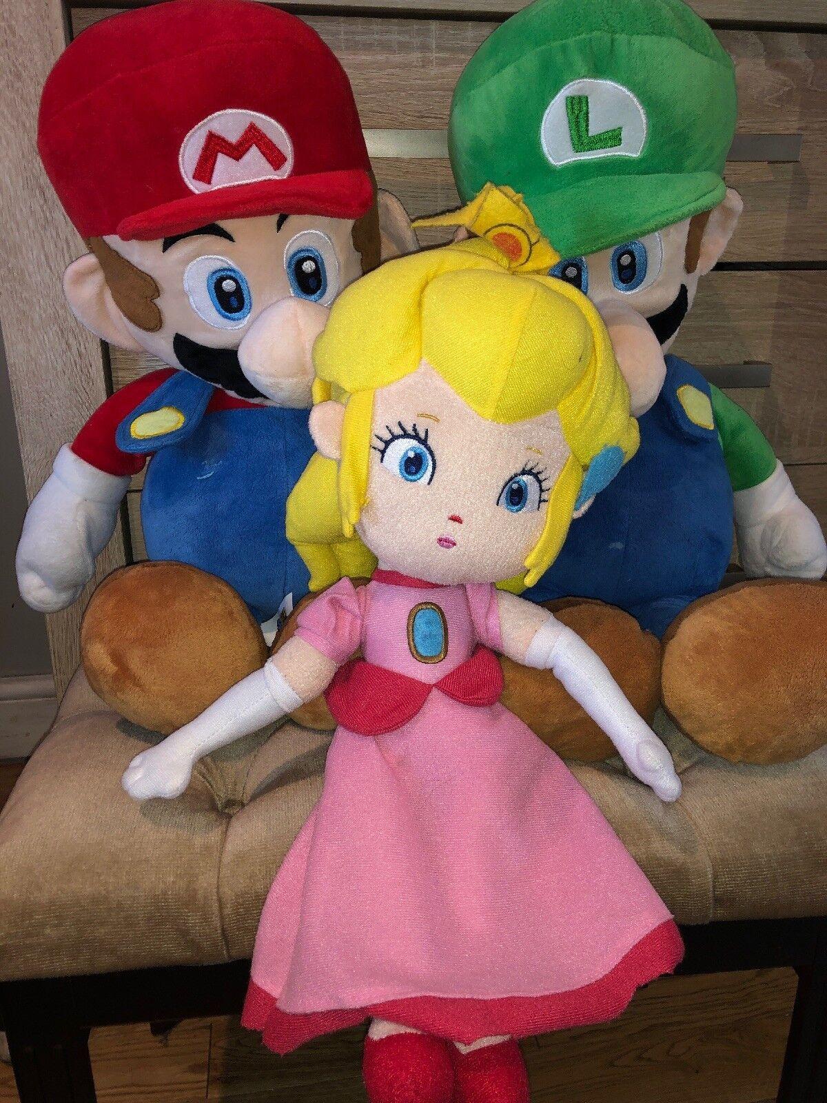 Mario Luigi Donkey Kong Princess Peach Large Teddy Soft Toy Bundle Big