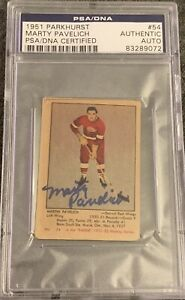 1951-1952-PARKHURST-Marty-Pavelich-AUTO-PSA-DNA-AUTOGRAPH-54-HOCKEY-Blue-Label