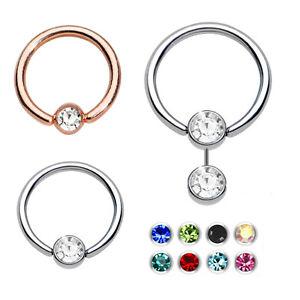 Details About Smiley Ring Smiley Piercing Hoop Flat Ring Crystal Diamonte Gem Steel Hinged
