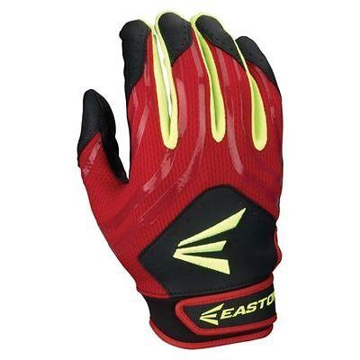 new Easton HF3 Woman's MEDIUM Fastpitch Gloves Black//Blue//Optic Yellow