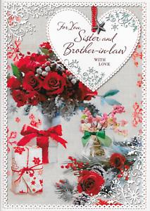 CC5 Soeur /& Brother In Law Carte de Noël fleurs belle verset 10 x 7 pouces