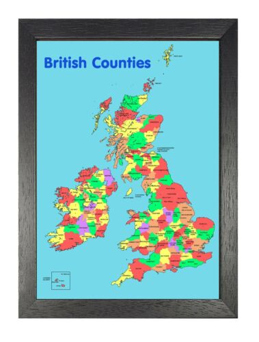 British Counties Map Travel Holiday Beautiful View Poster Layout Picture Print