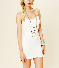 NEW ANTHROPOLOGIE FREE PEOPLE INTIMATELY STRETCH BODYCON IVORY MINI SLIP M / L