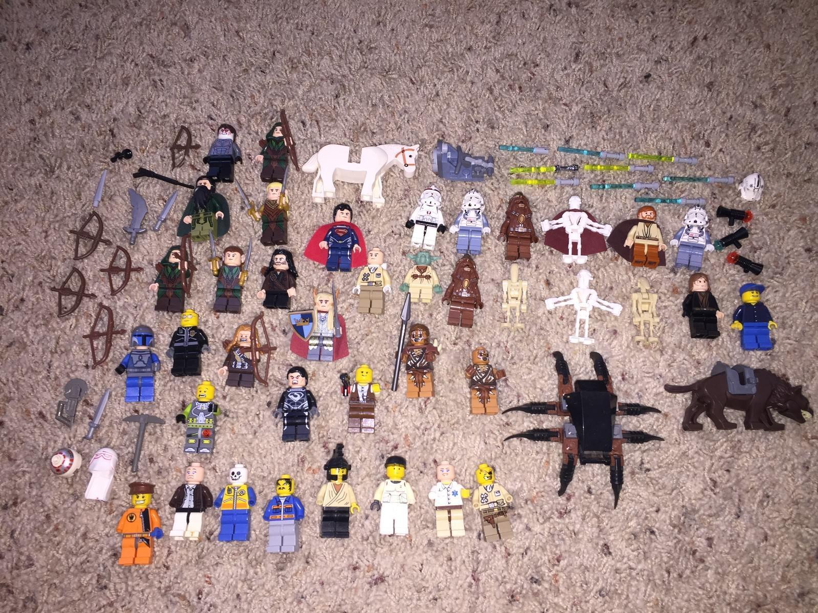 Énorme Lot Lego minifigs Star Wars LOTR Seigneur anneaux Superman armes de nombreux RARE Difficile à trouver