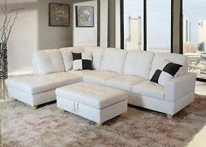 Details about Bonded Leather White Modern Sofa Sectional Couch Set - Sofa  Chaise Ottoman F/Shp
