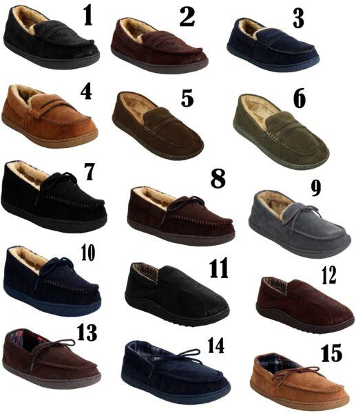 2019 úLtimo DiseñO Mens Resbalón En Forrada De Invierno Cálido Acogedor Interior Cómodos Mocasines Zapatillas Zapatos Talla-ver