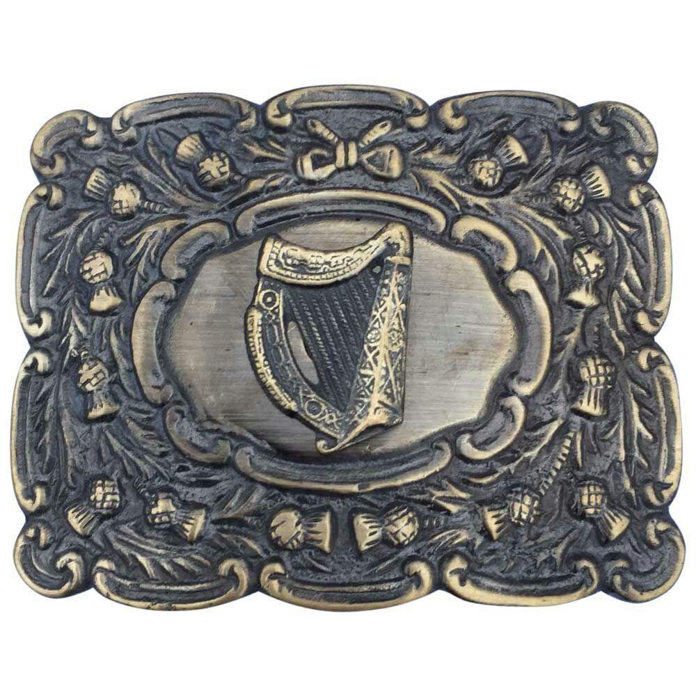 Cc Scottich Kilt Gürtelschnalle Matt Oval Design mit Harfe Abzeichen Antik Optik