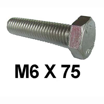 M6 x 75 Stainless Steel Hex Bolts / Set Screws 6mm x 75mm Stainless Bolts DIN933