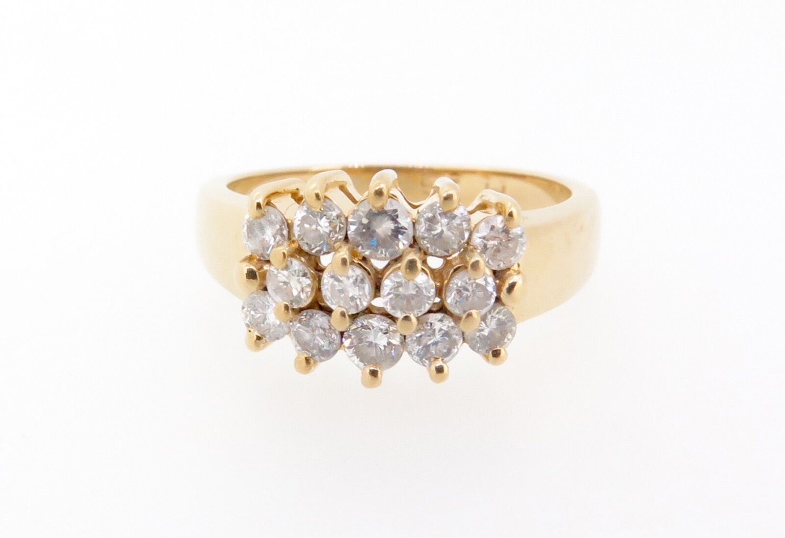 . 14k yellow gold Triple Row of 0.67ct diamonds set dress ring Val  2500
