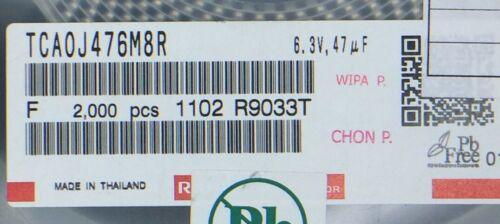 TCA0J476M8R ROHM CAP TANT 47UF 20/% 6.3V 1206 ROHS 100 PIECES
