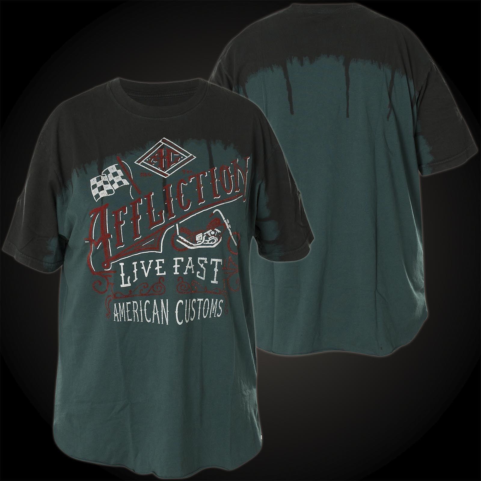b23581e8bdd5 Affliction Donna T-Shirt Live Fast Vintage Nero verde