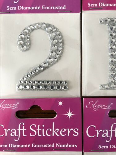 99p For 2 Or More Letters Numbers Hearts Shapes Diamanté  Stickers 5cm