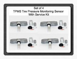 4 tpms tire pressure sensor w service kit fit cadillac. Black Bedroom Furniture Sets. Home Design Ideas