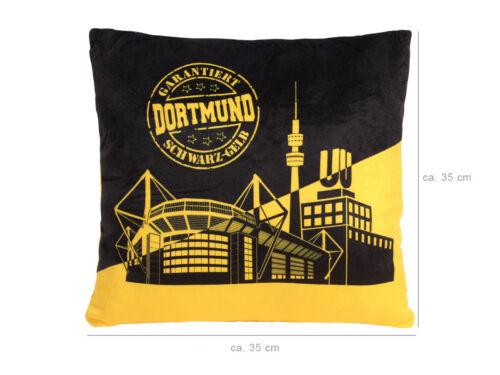 Dortmund Kissen Stadt Dekokissen Kuschelkissen Plüschkissen Deko Schwarz-Gelb