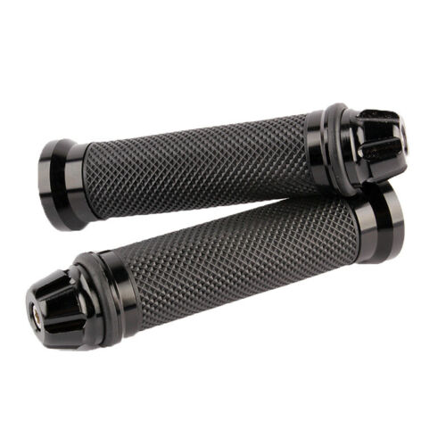 """Black CNC Motorcycle Street Fighter 7//8/"""" Rubber Hand Grips For Honda Yamaha BMW"""