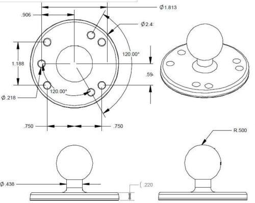 """RAM Mount Aircraft 2.5/"""" Round Plate AMPs Hole Pattern B Size 1/"""" Ball RAM-B-202"""