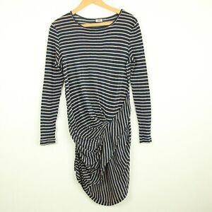 84b762a18 By Malene Birger Navy Blue Tan Striped Cotton Jersey Knit Dress ...