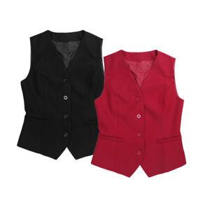Women Suit Vest Work Dress Waistcoat Slim Fit Outerwear Casual Lined