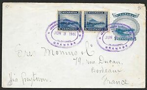 Nicaragua covers 1901 uprated cover Granada to Bordeaux