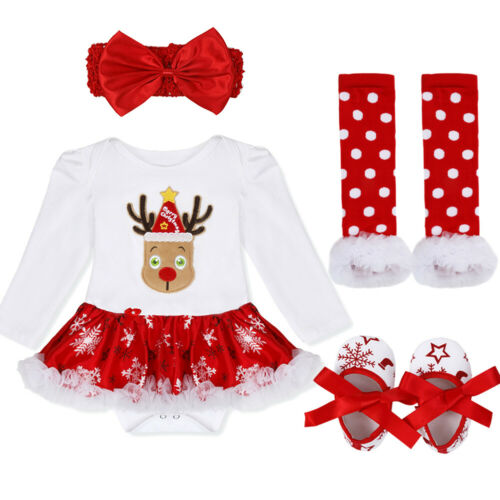 US Baby Girls Christmas Costume Toddler Long Sleeve Romper Tutu Dress Outfit Set