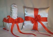 WHITE SATIN / ORANGE TRIM FLOWER GIRL BASKET & RING BEARER PILLOW