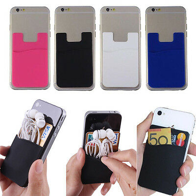 Fashion Soft Adhesive Sticker Back Cover Card Holder Case Pouch For Cell Phone