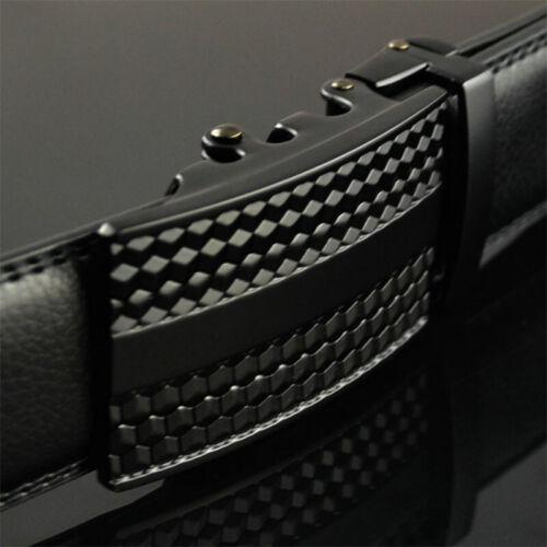 Loisure Men/'s Leather Belt Automatic Buckle Belt Ratchet Strap Black Gift jeans