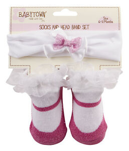 Baby Girls Ankle Socks /& Headband set 0-6 months Dark Pink White