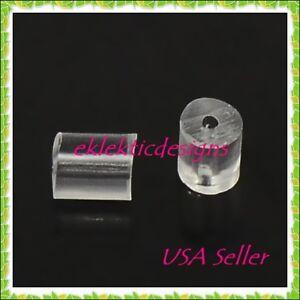 100pcs 3x3mm Clear Rubber Plastic Earring Backs Stoppers Plugs Earnuts Findings