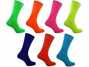 03c4b930c5f76 1 Mens Plain Bright Neon Teddy Boy Fancy Dress Party Socks UK 6-11 ...