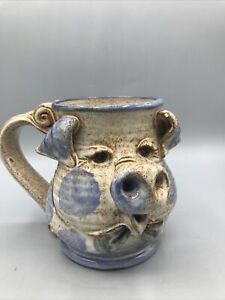 Vtg John Coiner Art Pottery Pig Mug Beer Stein