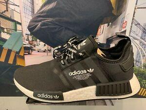 new concept 663b9 d0b7a Details about Adidas NMD R1 Black White Logo Laces GS MEN Size 4Y-13 F99711