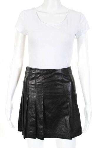 Tess Giberson Womens Leather Pleated Mini Skirt Bl