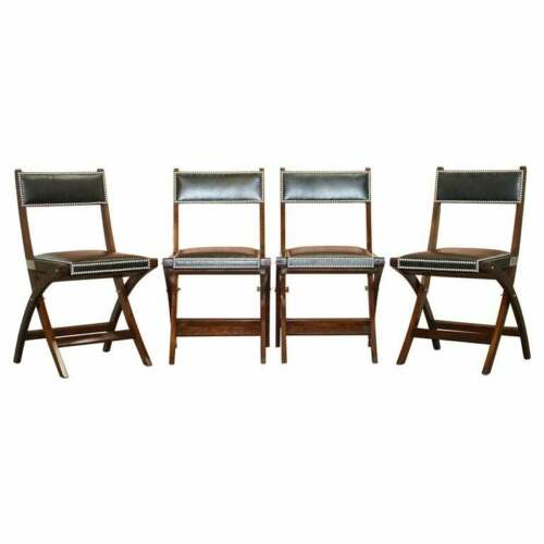 RRP £5400 FOUR KENNEDY HARRODS LONDON MILITARY CAMPAIGN LEATHER DINING CHAIRS 4