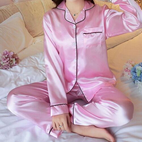 Womens Silk Satin Pajamas Set Pyjama Sleepwear Nightwear long Sleeve Set A4861