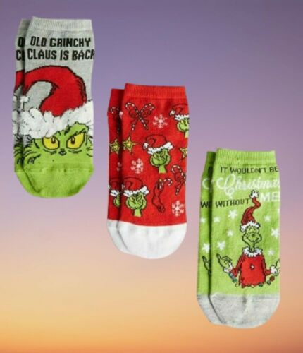 The Grinch 3 Pair Shoe Liner Ankle Socks Ladies Christmas Gift New 4-8