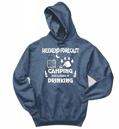 Weekend Forecast Camping Chance Drinking Funny Sweatshirt Graphic Hoodie