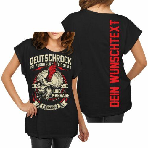 Las mujeres matricula individualizado t-shirt deseo deseo de texto Nombre alemán Rock