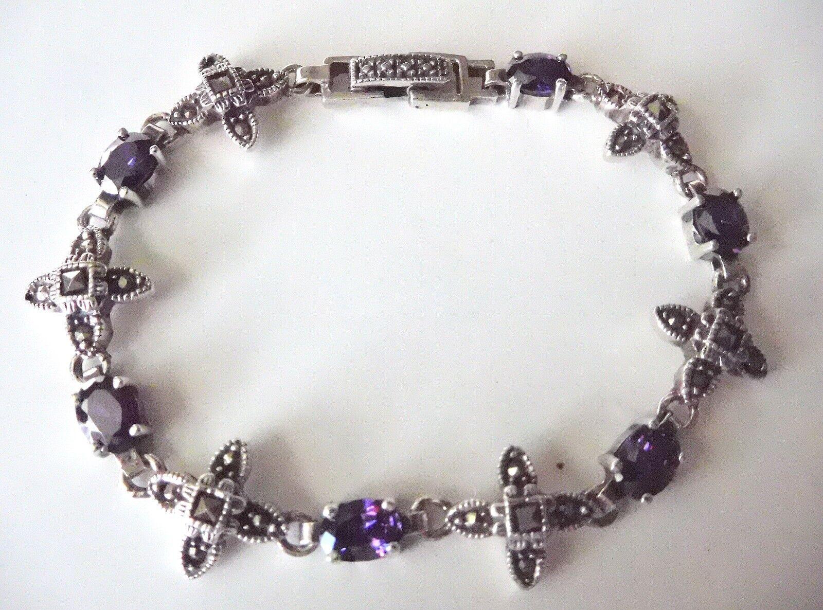 Sterling bluee purple stones Marcasites tennis Bracelet 7.25   I-6774
