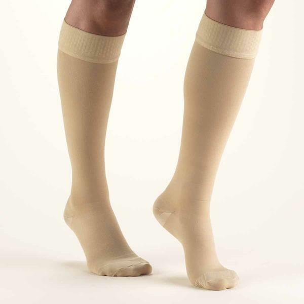 Truform 20-30 mmHg CLOSED TOE Knee High w Silicone Dot Stay-Up Top 8864 Beige