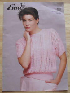 EMU-No-4083-LADIES-PINK-CABLE-AND-LACE-SUMMER-JUMPER-D-K-KNITTING-PATTERN