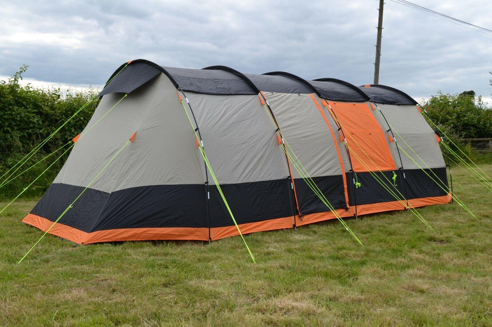8 couchette Tente De Camping Familial huit homme tente-OLPro Wichenford 3.0 Gris /& Orange