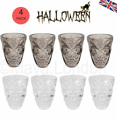 Halloween Party 3D Skull Shaped Shot Glasses Clear Smoke 4//8